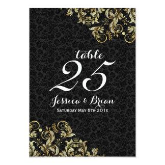 Noir et nombre de Tableau de mariage de dentelle Carton D'invitation 12,7 Cm X 17,78 Cm