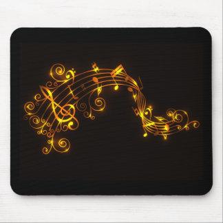 Noir et notes musicales de tourbillonnement d'or tapis de souris