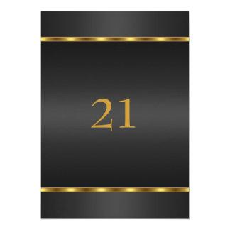 Noir et or de charme d'anniversaire d'invitation carton d'invitation  12,7 cm x 17,78 cm