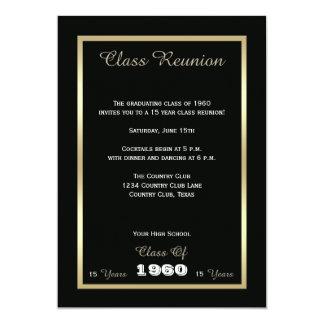 Noir et or de la Réunion de classe de lycée Carton D'invitation 12,7 Cm X 17,78 Cm