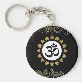 Noir et or de méditation d'incantation de symbole  porte-clé rond