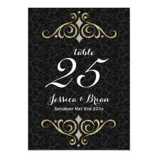 Noir et ornements d'or épousant le nombre de carton d'invitation  12,7 cm x 17,78 cm