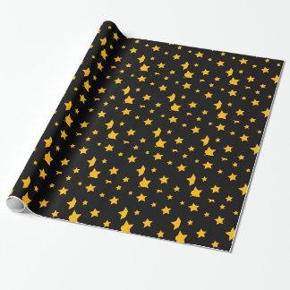 Noir et papier d'emballage d'étoiles de nouvelle papiers cadeaux