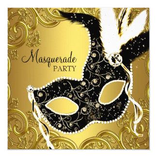 Noir et partie de mascarade de masque d'or carton d'invitation  13,33 cm