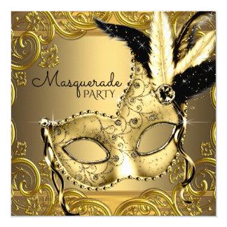 Noir et partie de mascarade d'or carton d'invitation  13,33 cm