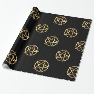 Noir et pentagone étoilé de sorcières d'or papiers cadeaux