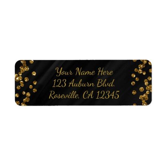 Noir et points de charme de scintillement d'or de étiquette d'adresse retour