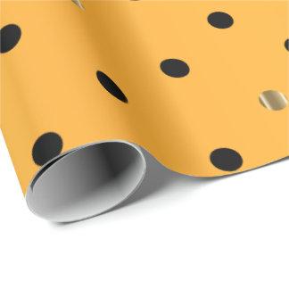 Noir et pois d'or sur le satin jaune d'or papiers cadeaux noël