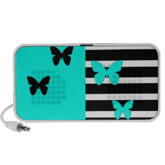 Noir et rayures et papillons de turquoise haut-parleur mobile