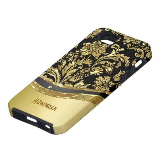 Noir et regard métallique d'or avec des damassés étuis iPhone 5
