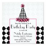 Noir et rose de fête d'anniversaire avec le carton d'invitation  13,33 cm