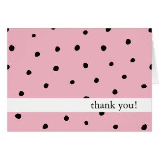 Noir et rose de point de polka de cartes de Merci
