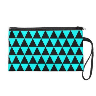 Noir et triangles géométriques bleues d'Aqua Sac À Main Avec Dragonne