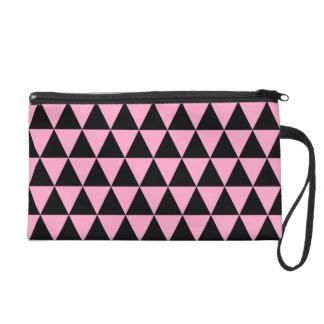 Noir et triangles géométriques roses d'oeillet pochette avec dragonne