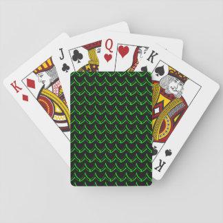 Noir et vert au néon de motif de Chevron Cartes À Jouer