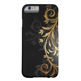Noir et vigne florale d'or coque iPhone 6 barely there