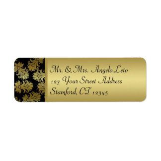 Noir, étiquette de adresse de retour floral d'or