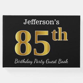 Noir, fête d'anniversaire d'or de Faux 85th + Nom Livre D'or