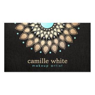Noir fleuri de logo d or élégant de maquilleur cartes de visite personnelles