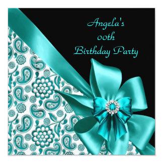 Noir floral de fête d'anniversaire de damassé carton d'invitation  13,33 cm