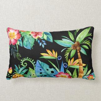 Noir floral tropical oreiller