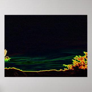 Noir foncé au néon de lumières électriques de couc affiche