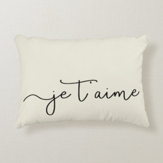 Noir français de typographie de Je T'aime | sur Coussins Décoratifs