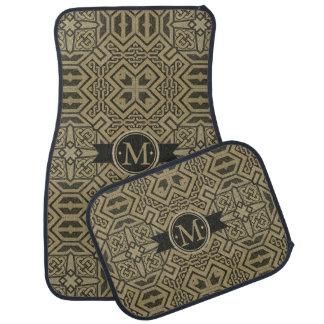Noir géométrique et or ID143 de monogramme de Tapis De Voiture