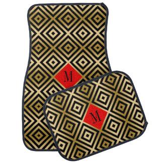 Noir géométrique moderne et or de motif tapis de voiture
