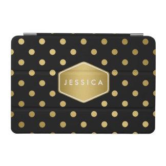 Noir Girly de motif de pois d'or de scintillement Protection iPad Mini