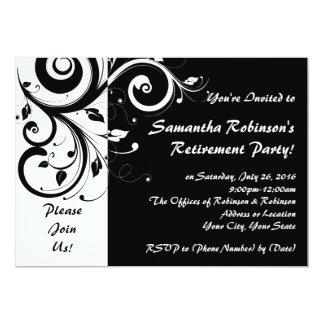 Noir+Invitation blanche de partie de retraite de Carton D'invitation 12,7 Cm X 17,78 Cm