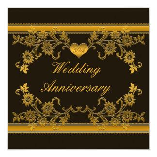 Noir, invitation florale d'anniversaire d'en