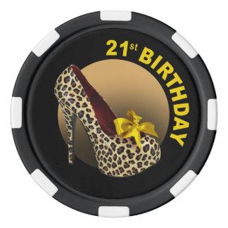 Noir jaune de 21ème anniversaire de stylet de jetons de poker