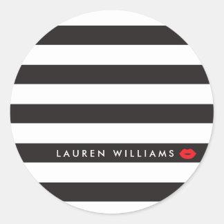 Noir Luxe/blanc barre le maquilleur rouge de Sticker Rond