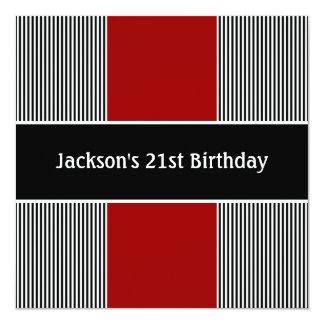 Noir masculin et le blanc barre la partie rouge carton d'invitation  13,33 cm