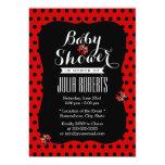 Noir mignon et le rouge pointille le baby shower cartons d'invitation personnalisés