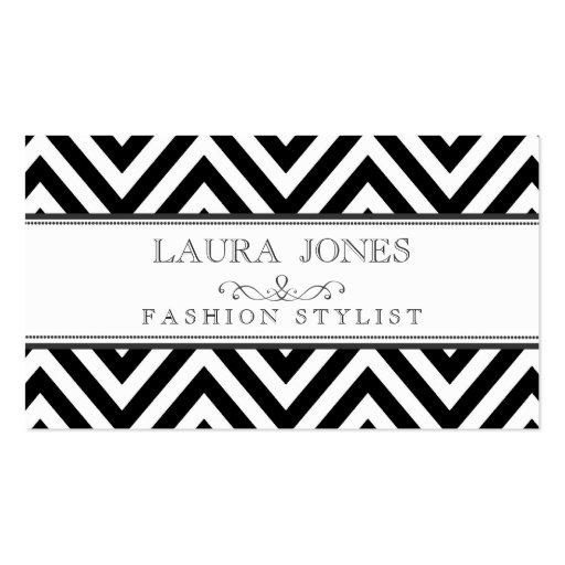 Noir + Modèle blanc de styliste de mode de Chevron Cartes De Visite Personnelles