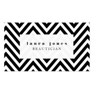 Noir + Modèle blanc de styliste de mode de Chevron Carte De Visite Standard