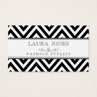 Noir + Modèle blanc de styliste de mode de Chevron Cartes De Visite