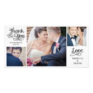 Noir moderne de cartes de Merci de mariage de call Photocarte