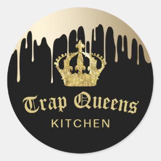 Noir moderne de cuisine de la Reine de piège et Sticker Rond