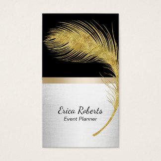 Noir moderne et or de plume de paon d'organisateur cartes de visite