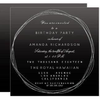 Noir Ombre d'anniversaire de guirlande de gris Carton D'invitation 13,33 Cm