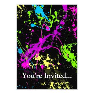 Noir personnalisé/éclaboussure au néon carton d'invitation  12,7 cm x 17,78 cm