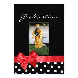 Noir + points blancs et obtention du diplôme rouge carton d'invitation  12,7 cm x 17,78 cm
