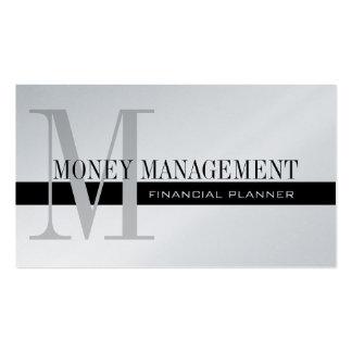 Noir professionnel d'argent de planificateur finan cartes de visite personnelles