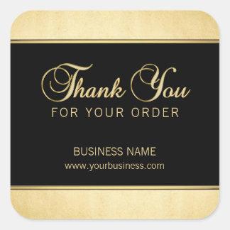 Noir professionnel d'or de Merci d'affaires Sticker Carré