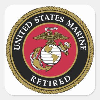 Noir retiré par marine des USA Sticker Carré