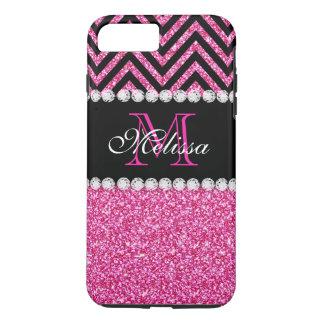 Noir rose Chevron de scintillement décoré d'un Coque iPhone 7 Plus