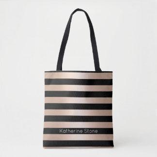 Noir rose d'or de poussin moderne élégant barré tote bag